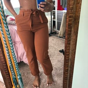 High waisted trousers with matching belt